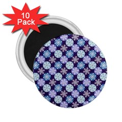 Snowflakes Pattern 2 25  Magnets (10 Pack)  by DanaeStudio