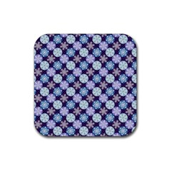 Snowflakes Pattern Rubber Coaster (square)  by DanaeStudio
