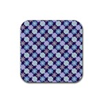 Snowflakes Pattern Rubber Square Coaster (4 pack)  Front