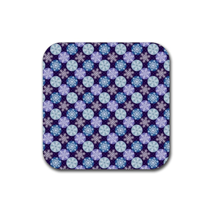 Snowflakes Pattern Rubber Square Coaster (4 pack)