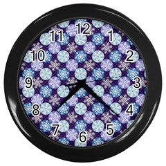 Snowflakes Pattern Wall Clocks (black) by DanaeStudio