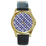 Snowflakes Pattern Round Gold Metal Watch