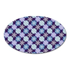 Snowflakes Pattern Oval Magnet