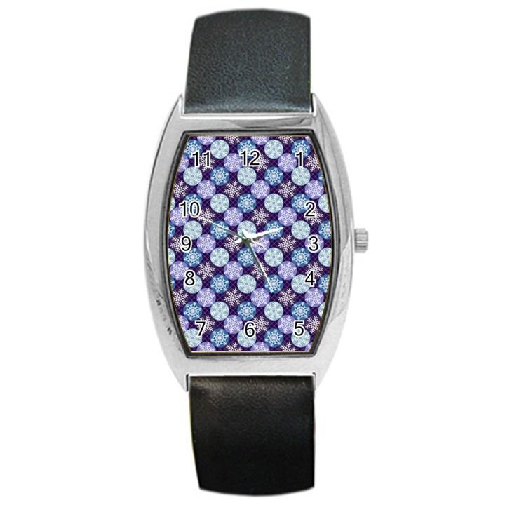 Snowflakes Pattern Barrel Style Metal Watch