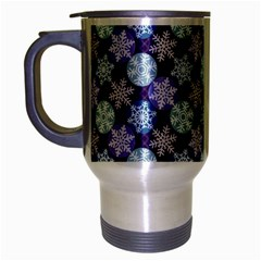 Snowflakes Pattern Travel Mug (silver Gray) by DanaeStudio