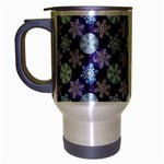 Snowflakes Pattern Travel Mug (Silver Gray) Left