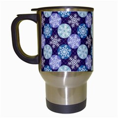 Snowflakes Pattern Travel Mugs (white) by DanaeStudio