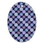 Snowflakes Pattern Oval Ornament (Two Sides) Back