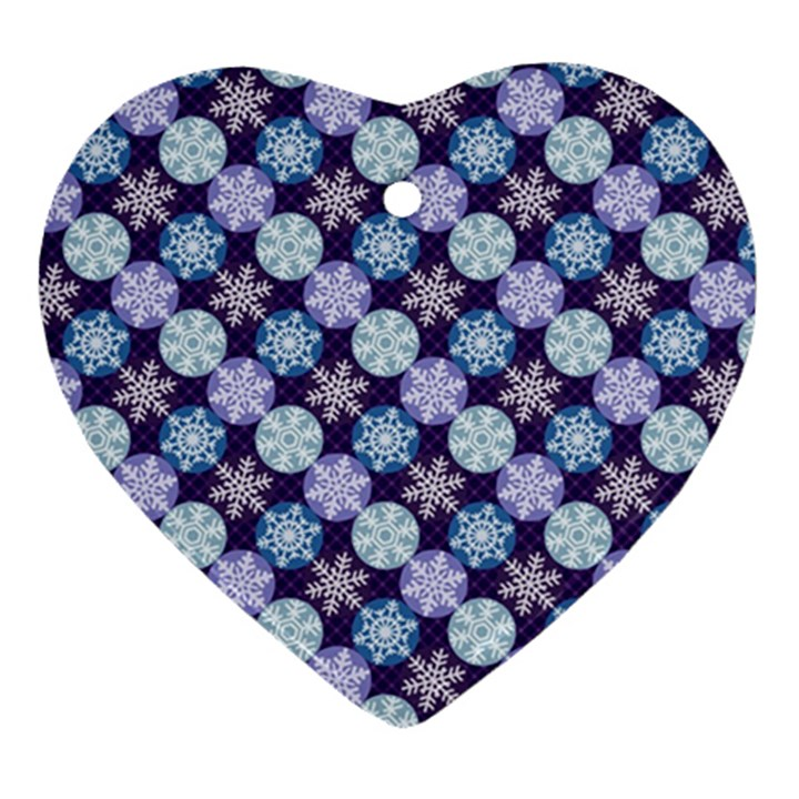 Snowflakes Pattern Heart Ornament (2 Sides)