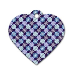 Snowflakes Pattern Dog Tag Heart (one Side) by DanaeStudio