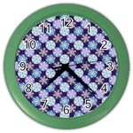 Snowflakes Pattern Color Wall Clocks