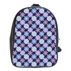Snowflakes Pattern School Bags(large)  by DanaeStudio