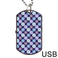 Snowflakes Pattern Dog Tag Usb Flash (one Side) by DanaeStudio