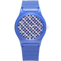 Snowflakes Pattern Round Plastic Sport Watch (s) by DanaeStudio