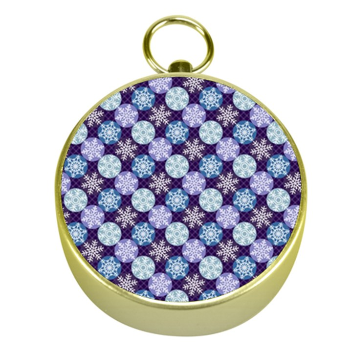 Snowflakes Pattern Gold Compasses