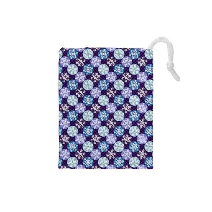 Snowflakes Pattern Drawstring Pouches (Small)