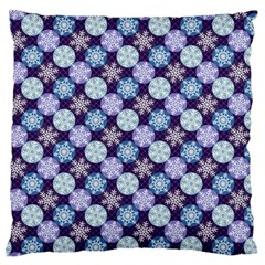 Snowflakes Pattern Large Flano Cushion Case (one Side) by DanaeStudio