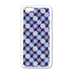 Snowflakes Pattern Apple Iphone 6/6s White Enamel Case by DanaeStudio