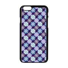 Snowflakes Pattern Apple Iphone 6/6s Black Enamel Case by DanaeStudio
