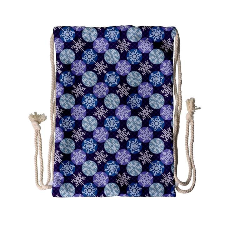 Snowflakes Pattern Drawstring Bag (Small)