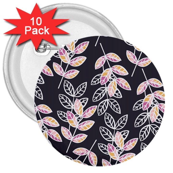 Winter Beautiful Foliage  3  Buttons (10 pack)