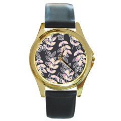 Winter Beautiful Foliage  Round Gold Metal Watch