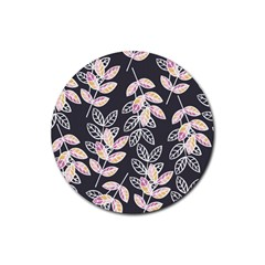 Winter Beautiful Foliage  Rubber Coaster (round)  by DanaeStudio