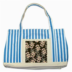 Winter Beautiful Foliage  Striped Blue Tote Bag by DanaeStudio