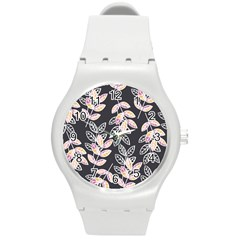 Winter Beautiful Foliage  Round Plastic Sport Watch (M)