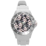 Winter Beautiful Foliage  Round Plastic Sport Watch (L)