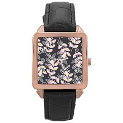 Winter Beautiful Foliage  Rose Gold Leather Watch  by DanaeStudio