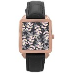 Winter Beautiful Foliage  Rose Gold Leather Watch