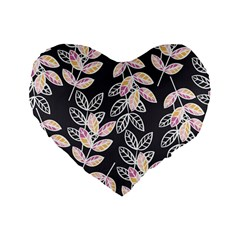Winter Beautiful Foliage  Standard 16  Premium Flano Heart Shape Cushions by DanaeStudio