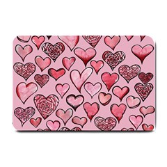 Artistic Valentine Hearts Small Doormat  by BubbSnugg