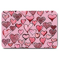 Artistic Valentine Hearts Large Doormat  by BubbSnugg