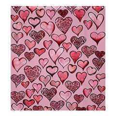 Artistic Valentine Hearts Shower Curtain 66  X 72  (large)  by BubbSnugg