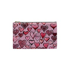 Artistic Valentine Hearts Cosmetic Bag (small)  by BubbSnugg