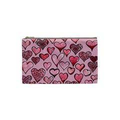Artistic Valentine Hearts Cosmetic Bag (small)