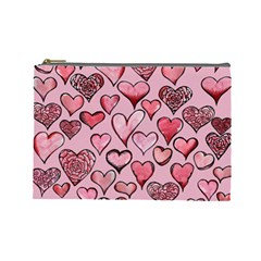Artistic Valentine Hearts Cosmetic Bag (large)  by BubbSnugg