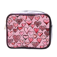 Artistic Valentine Hearts Mini Toiletries Bags by BubbSnugg