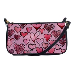 Artistic Valentine Hearts Shoulder Clutch Bags by BubbSnugg