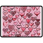 Artistic Valentine Hearts Fleece Blanket (Large)