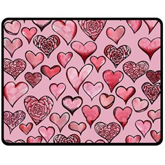 Artistic Valentine Hearts Fleece Blanket (medium)  by BubbSnugg