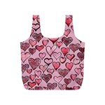 Artistic Valentine Hearts Full Print Recycle Bags (S)  Front