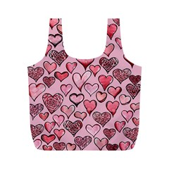 Artistic Valentine Hearts Full Print Recycle Bags (m)  by BubbSnugg