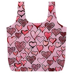 Artistic Valentine Hearts Full Print Recycle Bags (l)