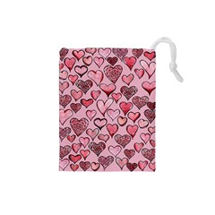 Artistic Valentine Hearts Drawstring Pouches (small)  by BubbSnugg