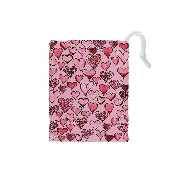 Artistic Valentine Hearts Drawstring Pouches (Small)
