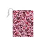 Artistic Valentine Hearts Drawstring Pouches (Small)  Back
