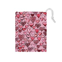 Artistic Valentine Hearts Drawstring Pouches (medium)  by BubbSnugg